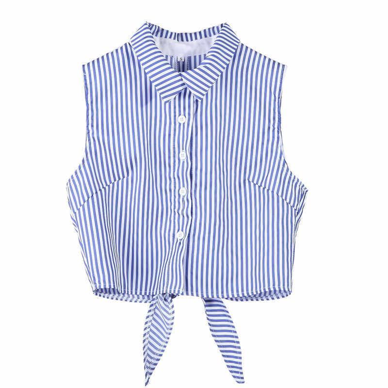 Пикантные Повседневное бюстье жилет укороченный топ лето синий полосатый футболка без рукавов Для женщин корсет топы; футболка Топы