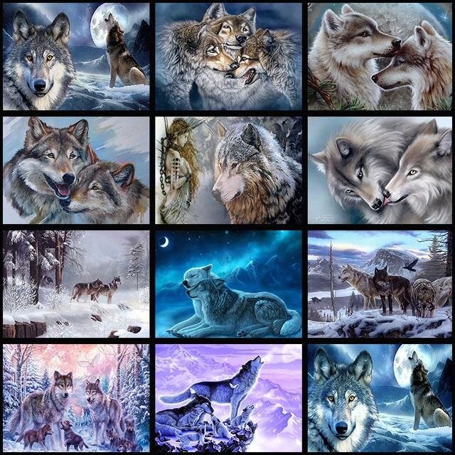 Đầy đủ Kim Cương Thêu Wolf Khảm 5D Cross Stitch Đầy Đủ Khoan Kim Cương Sơn TỰ LÀM Sticker Trang Trí Nội Thất Bức Tranh