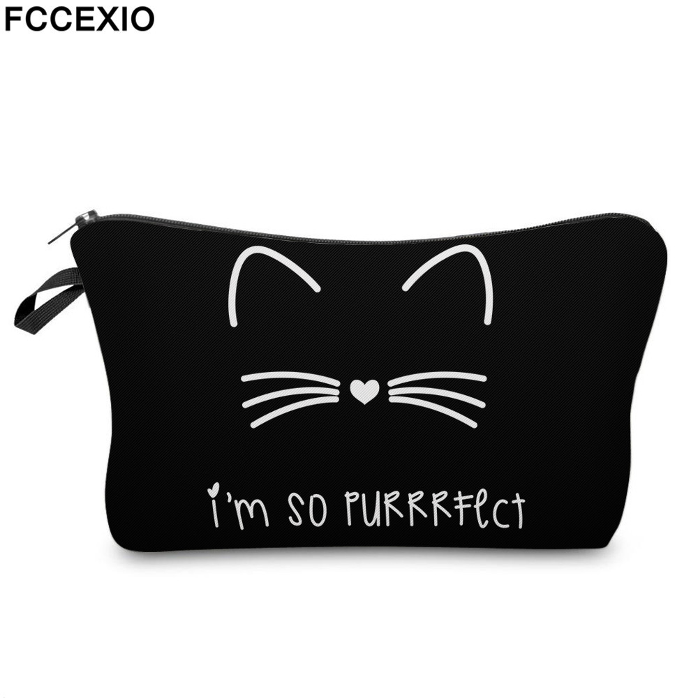 FCCEXIO 3D Cute Kitty Cartoon Cosmetic Bag Double Layer Pattern Makeup Bag for Girls Travel Organizer Maleta De Maquiagem unicorn 3d printing fashion makeup bag maleta de maquiagem cosmetic bag necessaire bags organizer party neceser maquillaje