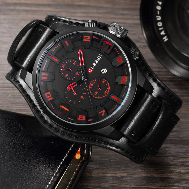 Relogio Masculino Curren Army Military Quartz Mens Watches Top Brand Luxury Leather Men Watch Casual Sport Male Clock Watch 8225