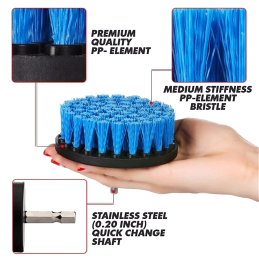3 Pcs Set Power Scrubber Brush Drill Brush Clean For