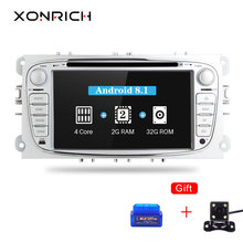 Xonrich Voiture lecteur dvd 2 Din Android 8.1 Pour Ford Focus 2 S-Max C-Max Mondeo Galaxy Kuga 2 GPS AutoRadio AutoRadio Audio IPS 4G