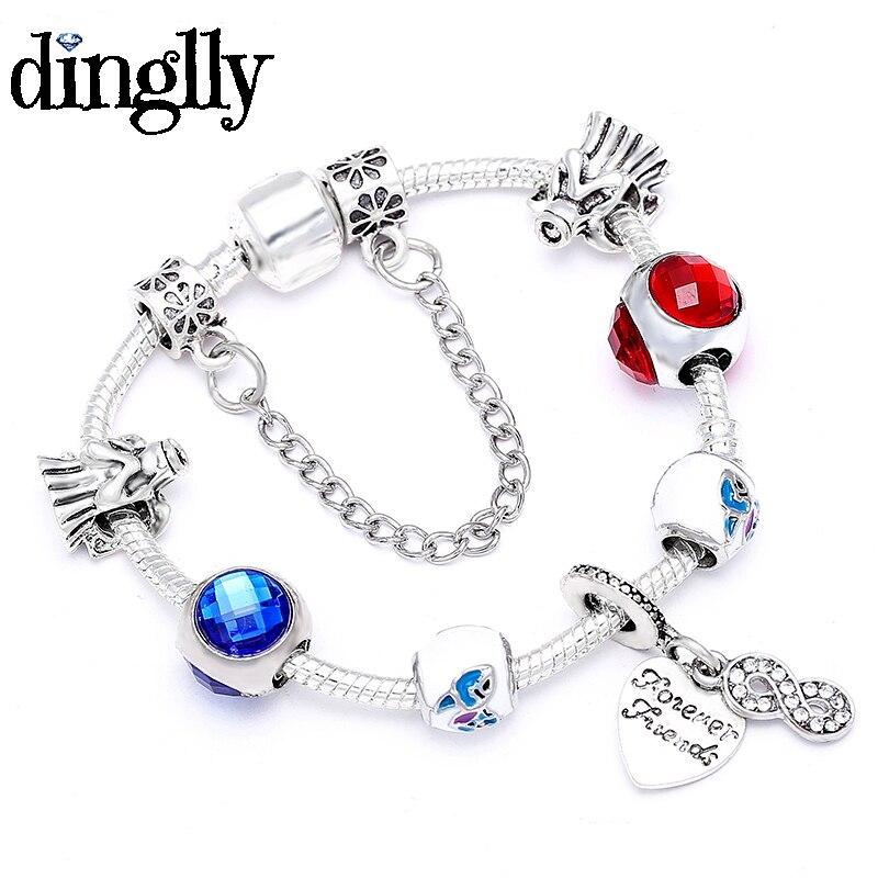 DINGLLY Red Blue Beads Charm Bracelets For Women Girl Boys Guardian Angel Lilo Friendship Stitch Anime Theme Bracelet & Bangle(China)