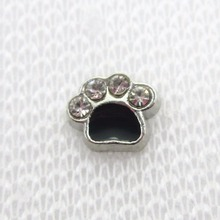 Hot selling 50pcs/lot Crystal dog paw charm floating charms living glass memory lockets diy jewrlry floating charms
