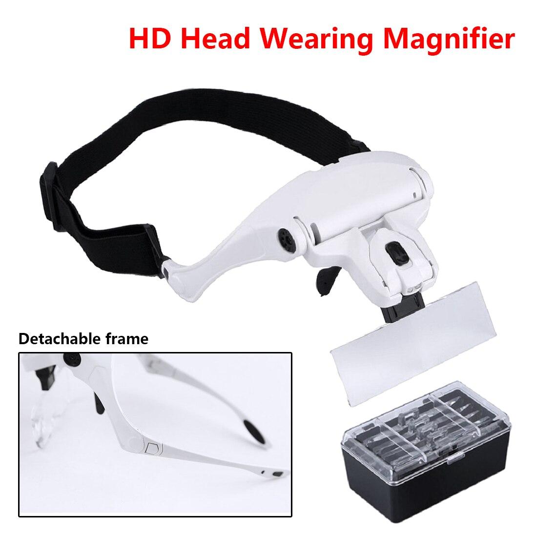 Óculos de leitura lupa 1.0X1.5X2.0X2.5X3.5X5 lente lupa Óculos de fone de Ouvido Ajustável para costura