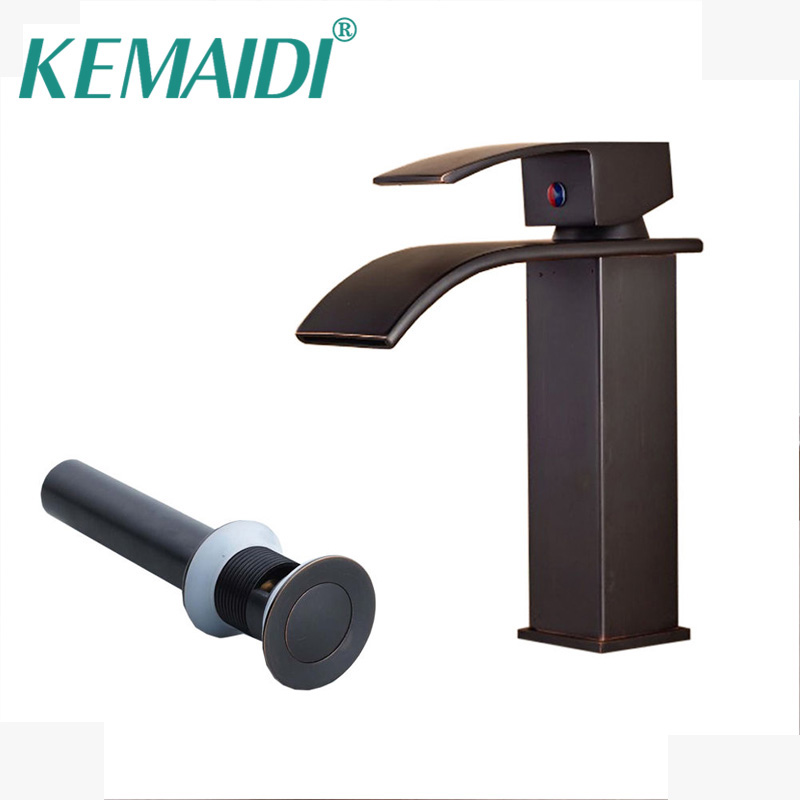 KEMAIDI Oil Rubbed Bronze Basin Faucet Deck Mounted Tub Mixer Tap Waterfall Spout Kitchen Mixer torneira with Drain black oil rubbed bronze wall mounted toothbrush holder with two ceramic cups wba143