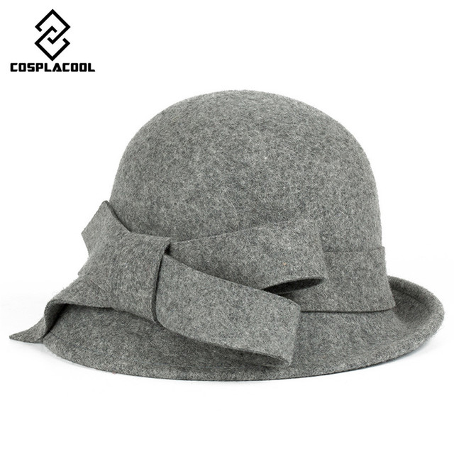[COSPLACOOL] New big bowknot hypotenuse wool fedoras restore ancient ways british bowler hats women's wool fedoras