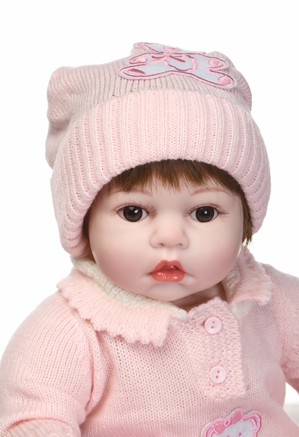 NPKCOLLECTION Beautiful reborn baby doll in Pink sweater vinyl silicone real soft touch gift for children on Birthday new fashion design reborn toddler doll rooted hair soft silicone vinyl real gentle touch 28inches fashion gift for birthday
