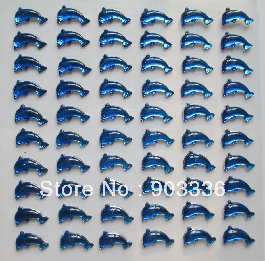 ≧13*8mm 60 unids/hoja azul delfín autoadhesivo Adhesivos para ...