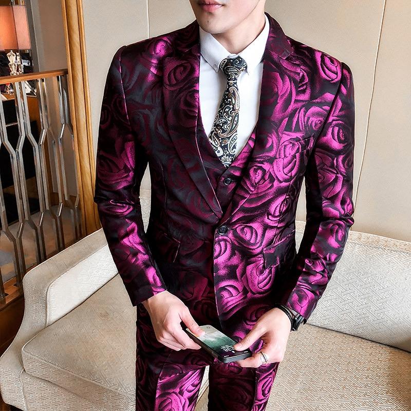 2018 Rose Suits Mens Burgundy Flowers Print Suits Purple Wedding Suits For Mens Stage Jackets Pak Heren Smoking Ternos Slim Fit
