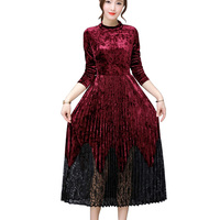 Spring Fall Velour Dress Women Long Sleeve Pleated Lace Patchwork Elegant Velvet Corduroy Dresses Robe Vintage