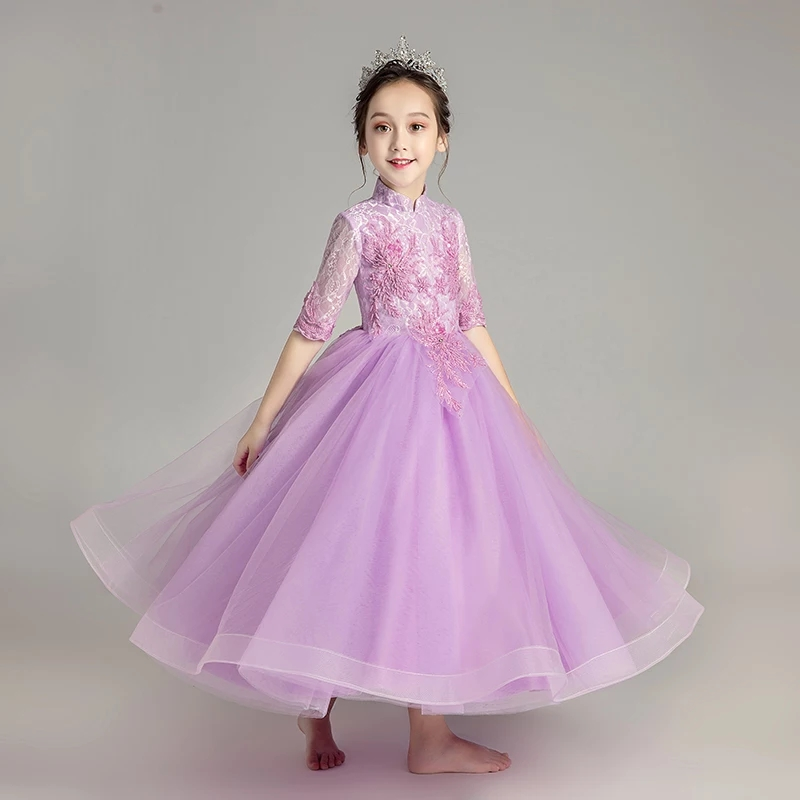 2018 Summer New Fashion Girls Baby Purple Color Princess Birthday Party Lace Dress Wedding Dresses Children Clothes Size 3-15 sunny fashion girls dress birthday cupcake polka dot birthday princess 2018 summer wedding party dresses kids clothes size 3 8