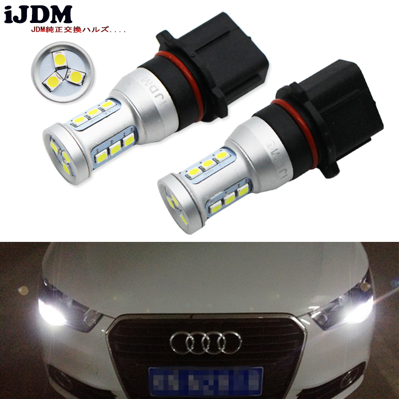 iJDM Auto P13W LED Error Free Canbus 12SMD-3030 SH24W LED Bulbs For 2008-2012 Audi A4 Q5 Daytime Running Lights,Red White Yellow 2x no errors xenon white 50w p13w c ree led bulbs drl for 2008 12 audi b8 model a4 or s4 with halogen headlight trims