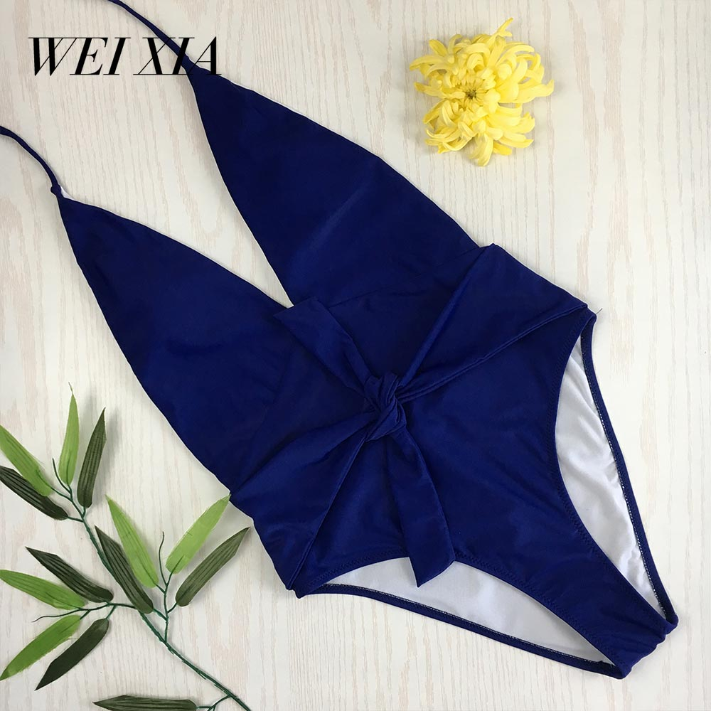 4a6697522e3 WEIXIA 2018 New Sexy one piece Women biquine highcut Swimsuit Bandage  Halter bathsuit bride squad large bust Swimwear thong XXL-in Body Suits  from Sports ...