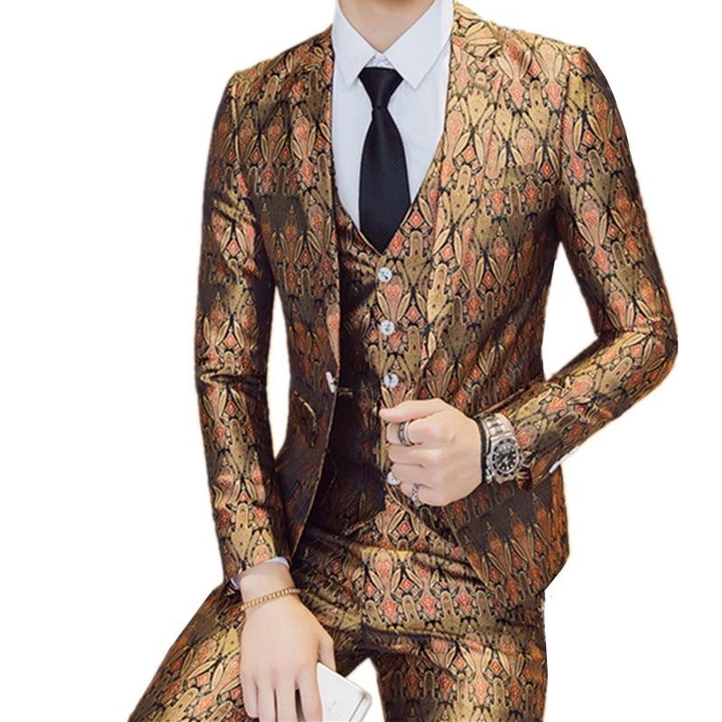 Пиджаки жилет комплект со штанами/2018 новые модные Для мужчин ночной клуб Повседневное бутик печати пиджак пальто брюки жилет