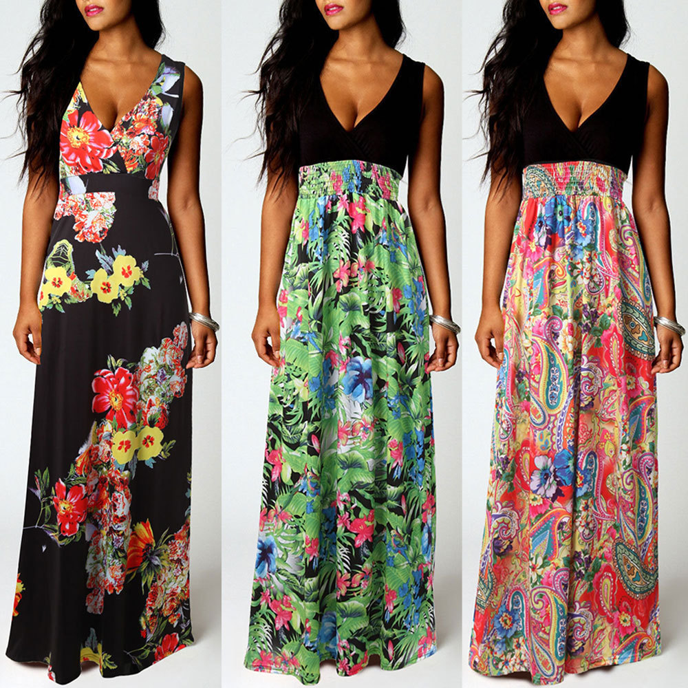 7eca9f662c Summer Style Floral Print Maxi Dresses Women Beach Club Casual Loose Linen  Sleeveless robes Deep V Neck Long Elegant dress-in Dresses from Women's  Clothing ...