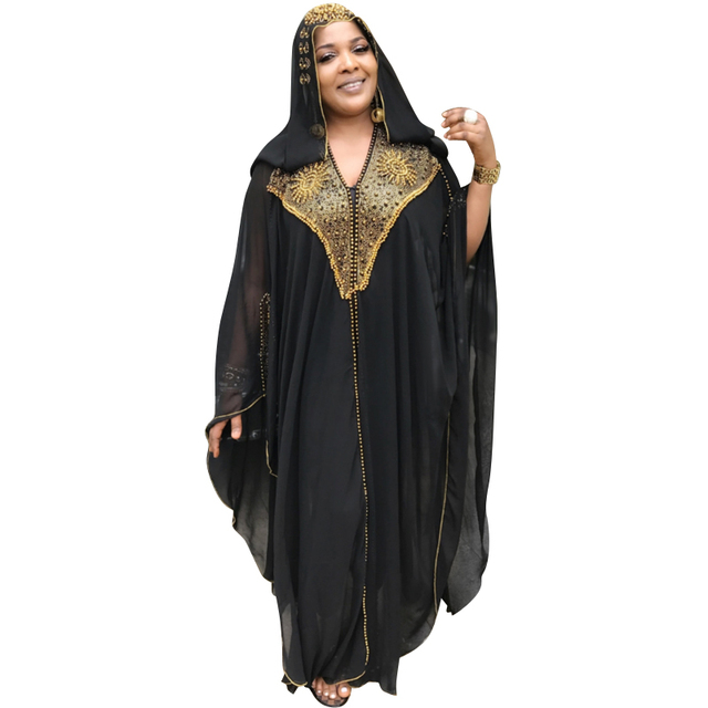 African Dresses For Women Beading Robes Long Maxi Dresses Fashion Plus Size Chiffon Dress Hooded Black Abaya Batwing Vestidos 1