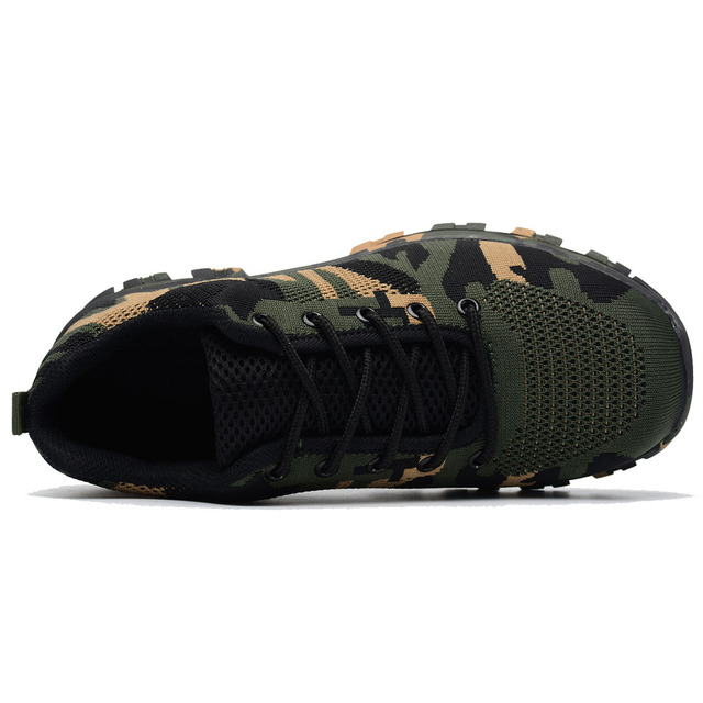 Construction Men's Outdoor Plus Size Steel Toe Cap Work Boots Shoes Men Camouflage Puncture Proof Safety Shoes Breathable 3