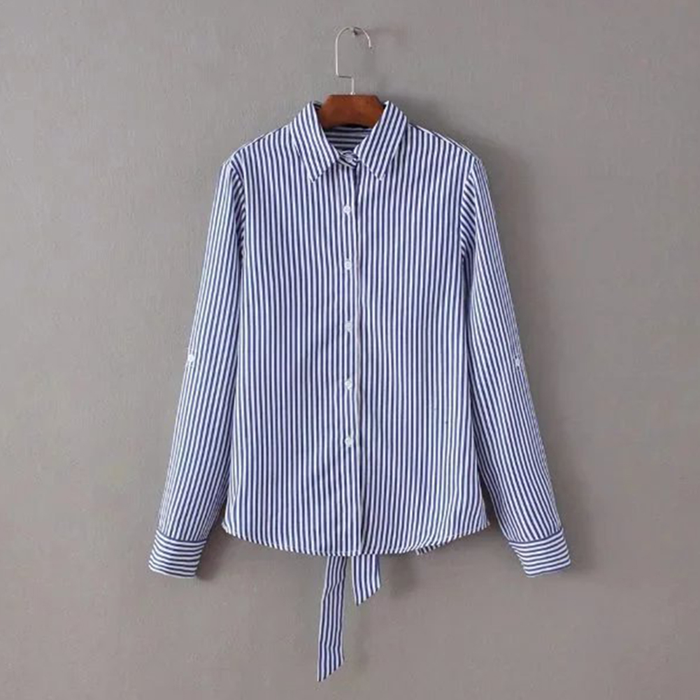 Autumn Sexy Ladies Shirts Fashion Blue Striped Blouses Long Sleeve Cutout Backless Tie Back Shirt Blouse Top