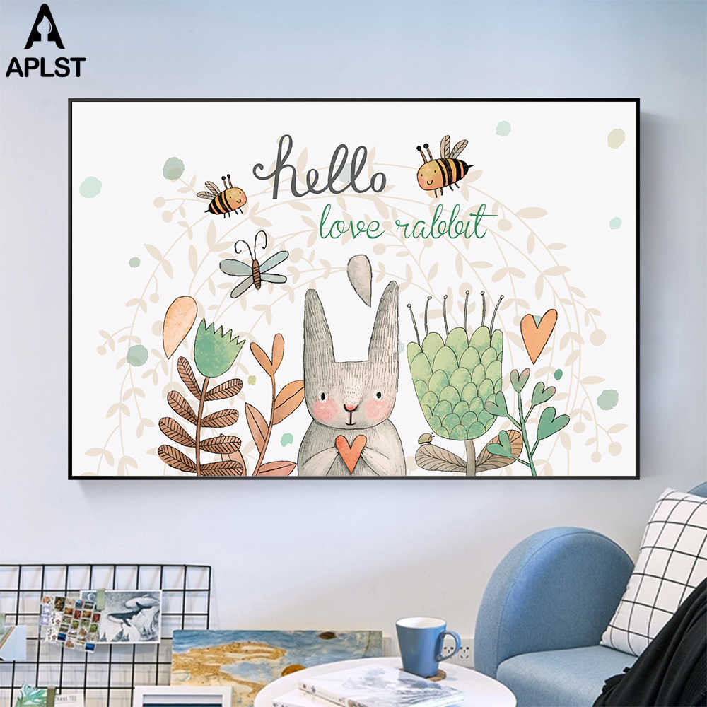 Large Canvas Print Nursery Baby Infant's Room Poster Cartoon Animals Flowers Painting Printing Picture Kindergarten Decoration