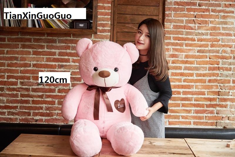 stuffed fillings bear plush toy large 120cm pink teddy Bear,silk belt love bear doll soft hugging pillow birthday gift b0917 new creative plush bear toy cute lying bow teddy bear doll gift about 50cm