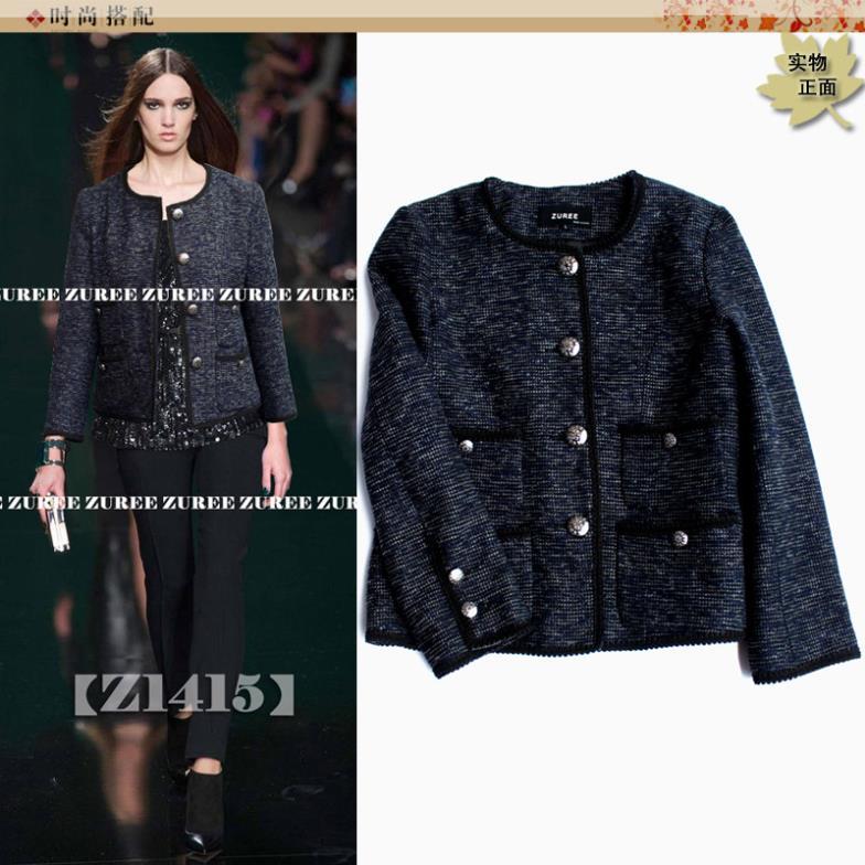 Blue Gray Tweed jacket coat ladies clinch woman wear new short ...