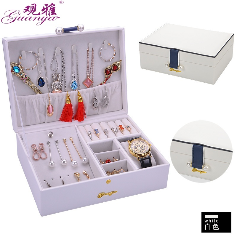 Korean Version Of The Princess Jewelry Storage Box Simple And Solid Color Double Layers Leather Jewelry Box Hot Selling пенал для карандашей korean version of the password box