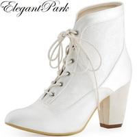 Mujeres corto Botas punta toe chunky talón blanco marfil Encaje satén novia damas nupcial Zapatos botines de boda hc1528