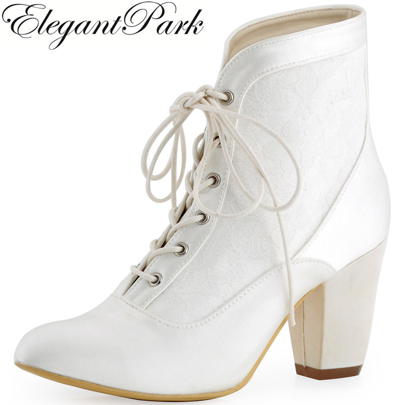 Shoes Woman HC1528 Ivory Close Toe Chunky Heel Comfortable Lace Up Satin Wedding Boots