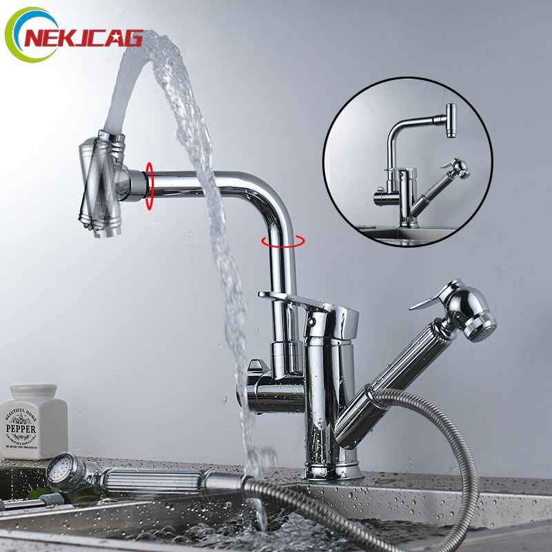 Kitchen Faucet Single Handle Kitchen Tap Single Hole Handle 360 Rotate Crane Chrome Pull Out Mixer Tap Faucet micoe hot and cold water basin faucet mixer single handle single hole modern style chrome tap square multi function m hc203