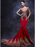 Robe de Soiree Longue Real Kaftan Dubai Red Cap Sleeve Mermaid Evening Dresses 2019 Formal Prom Party Gowns Vestido Longo