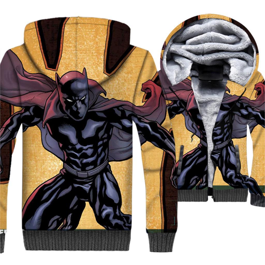 Black Panther Jacket 3D Print Movie Hoodie Men Wakanda Hooded Sweatshirt 2018 New Design Winter Thick Fleece Warm Zipper Coat in Jackets from Men 39 s Clothing