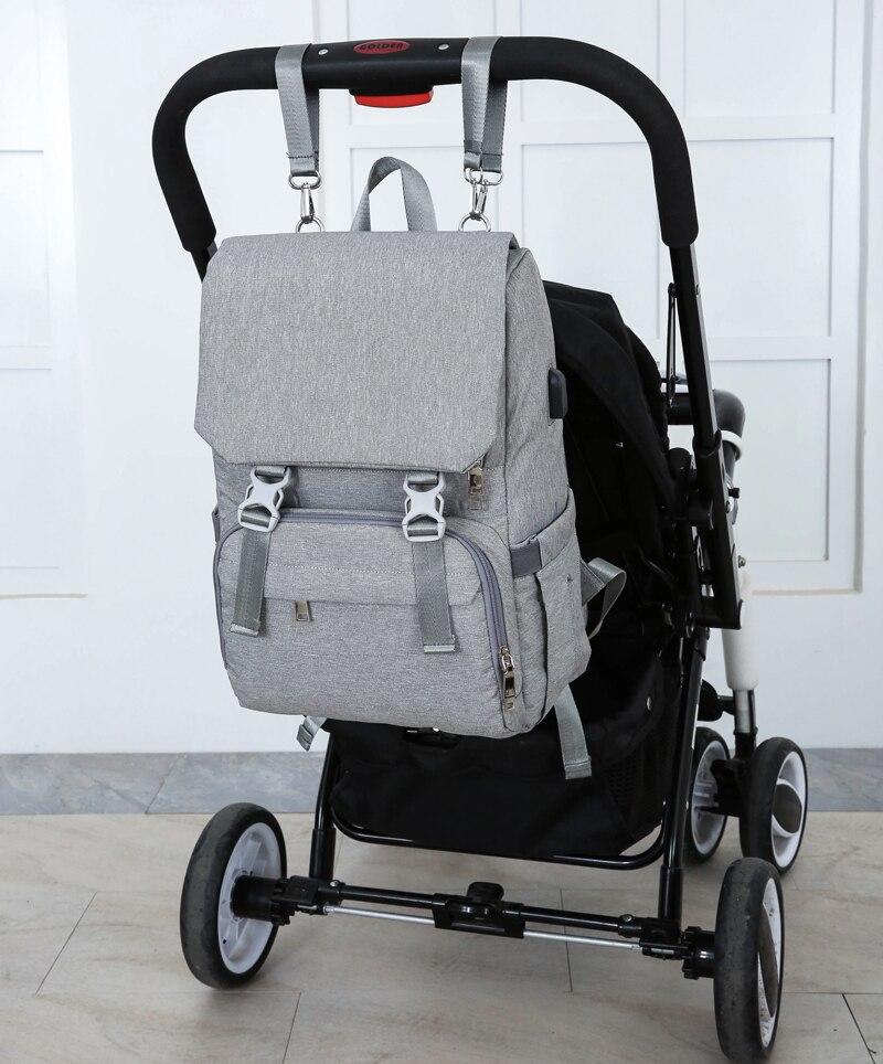 Bolsa de pañales con interfaz USB gran bebé pañal bolsa de momia maternidad mochila de viaje para mamá de bolsas - 3