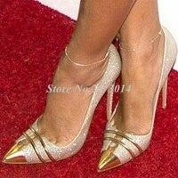 Silver Gold Glitter Shoes Stilettos Evening Wedding Pumps 2019 Spring Women High Heels pointed Toe Silver Bling Shoe Metal Decor