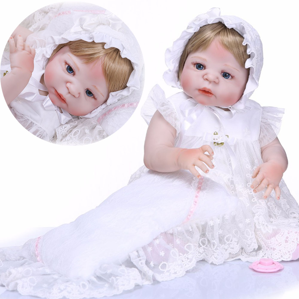 Bebes reborn Boutique doll reborn NPK brand 2357cm full silicone reborn baby girl dolls gift blond hair with lace dress pillowBebes reborn Boutique doll reborn NPK brand 2357cm full silicone reborn baby girl dolls gift blond hair with lace dress pillow