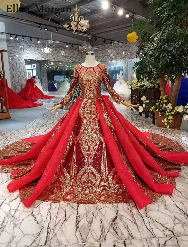 Image 2 - Burgundy Long Sleeves Wedding Dresses with Gold Lace Puffy Boat Neck Chapel Train Corset Luxury Princess Vintage Bridal Gowns-in Wedding Dresses from Weddings & Events