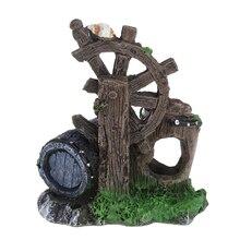 Aquarium Resin Wind Wheel Rockery Hiding Rock Cave Fish Tank Ornament Decoration Stone Is Land