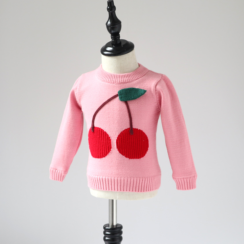 Children's sweater 2018 new style winter girl big cherry sweater girl baby plus velvet thick pullover sweater top sweater fobya sweater