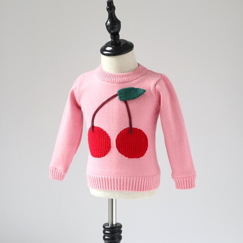 лучшая цена Children's sweater 2018 new style winter girl big cherry sweater girl baby plus velvet thick pullover sweater top