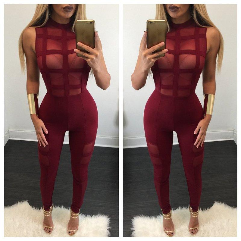 b3509f26845 2017 black wine red plaid Sexy Jumpsuits Women Burgundy Mesh off shoulder  Bodycon Bandage Jumpsuit rompers bodysuit vestidos