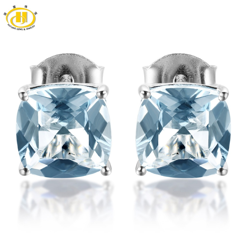 HUTANG Stone Jewelry 2.428ct Natural Aquamarine Cushion 7mm Stud Earrings Solid 925 Sterling Silver Gemstone Fine Jewelry Women