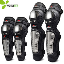 WOSAWE Moto Elbow Knee Pads Set Brace Support Sports MTB Off-Road Snowboard Roller Kneepad Stainless Steel Motorcycle Protector