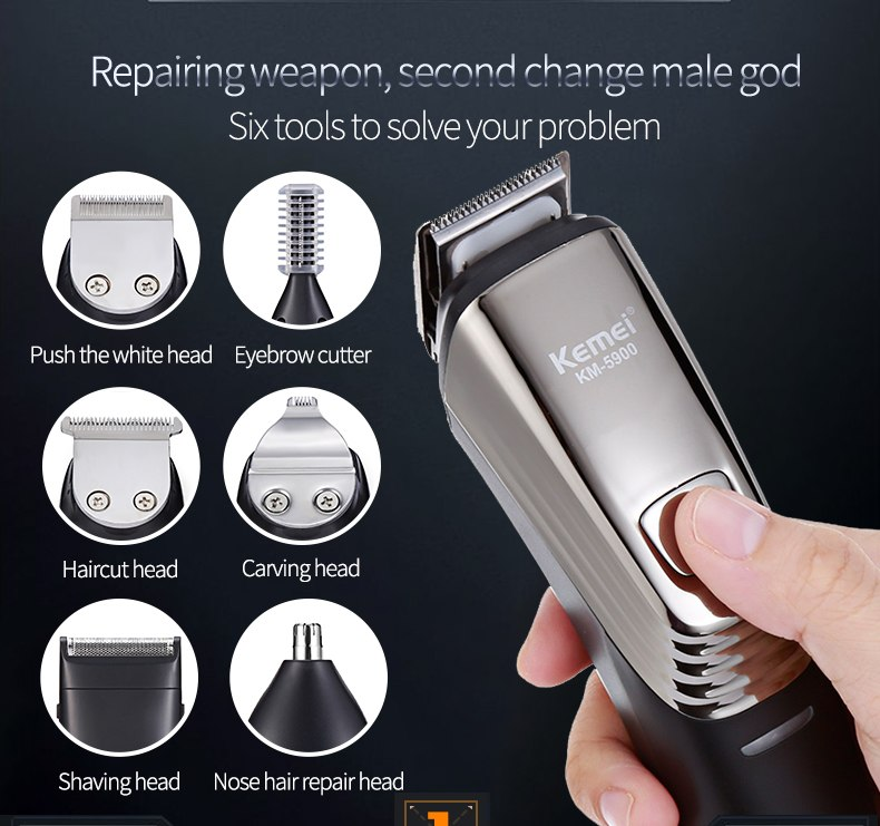 Kemei Rechargeable Hair Trimmer 6in1 New Washable  Titanium Hair Clipper Electric Shaver Beard Trimmer Clipper Trimer Hair Cut 5