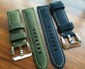 22 24 26mm Vintage Dark Green And Blue Leather Strap,Watchbands Mens Rough Strap For PAM, Free Shiping