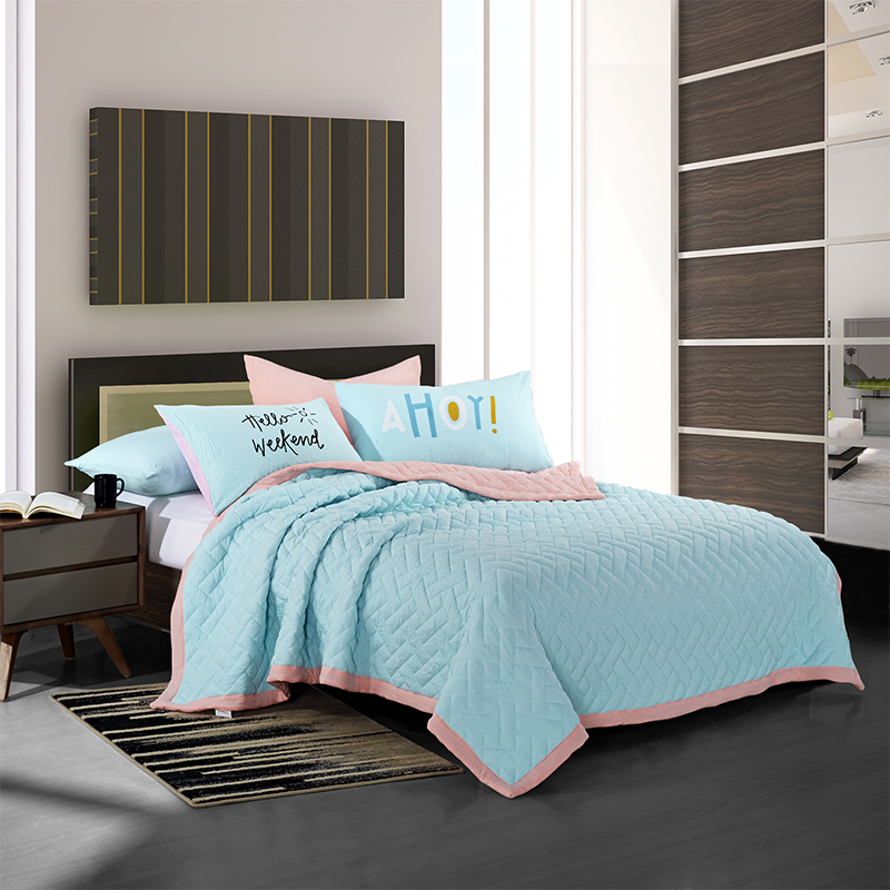 ФОТО   3pcs King Queen size Stiching summer Quilt Stuffed Comforter Throw Blanket Pillowcases Bedspread Solid Color Green Grey Color
