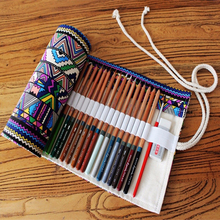 36/48/72 Holes Ethnic Wind Professional Cosmetic Brush Bag Pen Bag Roll Pouch Printing Pencil Case Canvas Make Up Bag S/M/L