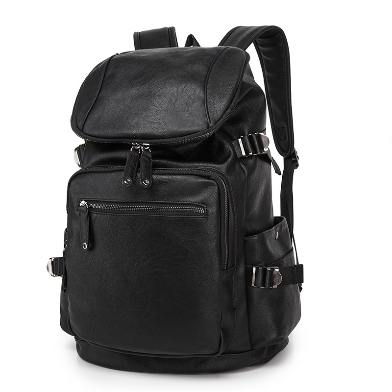1c11082624 2017 Men s Leather Backpack Schoolbag Solid Cool Black Leather Backpacks  men Large capacity Travel Laptop Backpack mochila -in Backpacks from  Luggage   Bags ...