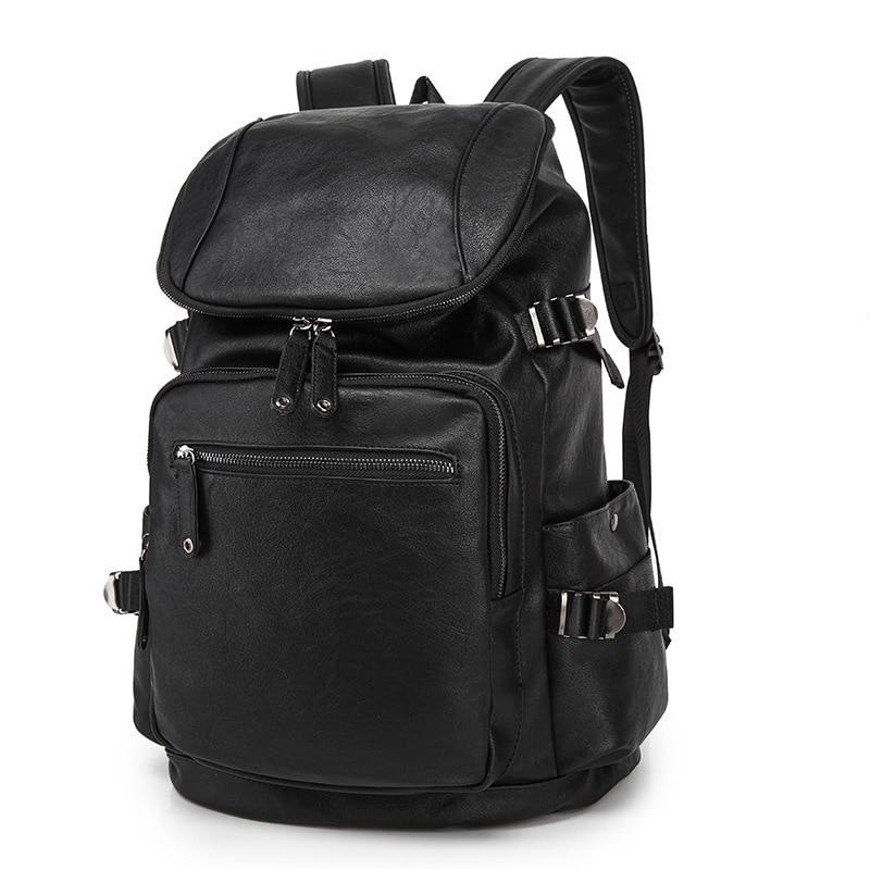 2017 Men's Leather Backpack Schoolbag Solid Cool Black Leather Backpacks men Large capacity Travel Laptop Backpack mochila