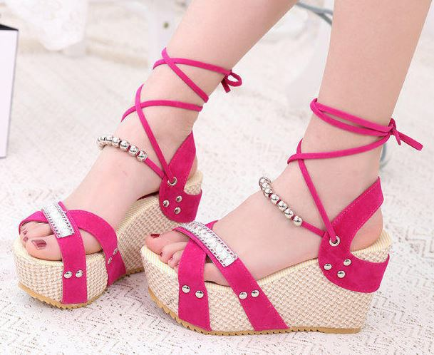 2015 new women high heel platform wedge sandals with ankle straps ...