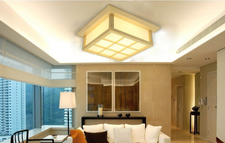 Modern LED Square Surface mounted OAK Wood PVC lamparas de techo home wooden led ceiling lamp fixture for living room bedroom